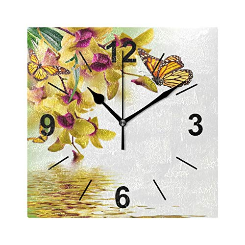 Double Joy Wall Clock Square Butterflies Orchid Painting Art Animals Reflection 8x8 Inches Silent Decorative for Home Office Kitchen Bedroom