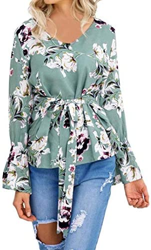 Heeecgoods Damas para Mujer Estampado Floral Camisa de Manga Larga ...