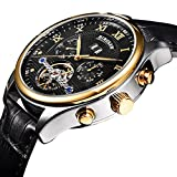 BINSSAW Brand Men Tourbillon Automatic Mechanical Watches Leather Man Fashion Black Week Business watch