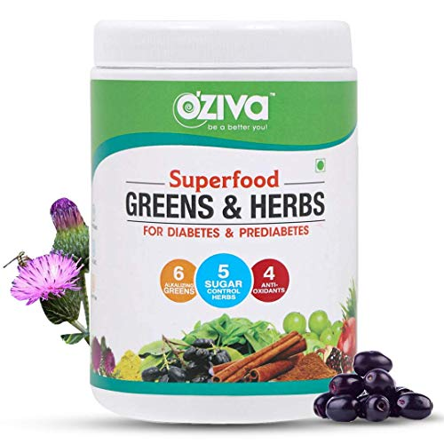 OZiva Superfood Greens & Herbs, for Diabetes & Prediabetes (with Gymnema, Fenugreek Seed, Milk Thistle, Jamun seeds & more), 250g
