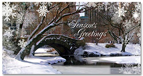 New York Holiday Money Greeting Cards Holders - Love Bridge in Central Park Snow - Set of 6 (6 Money Cards, 6 Envelopes) Holidays in - Retailers Nyc In