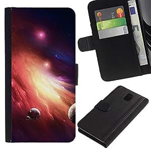 Paccase / Billetera de Cuero Caso del tirón Titular de la tarjeta Carcasa Funda para - Space Planet Galaxy Stars 36 - Samsung Galaxy Note 3 III N9000 N9002 N9005