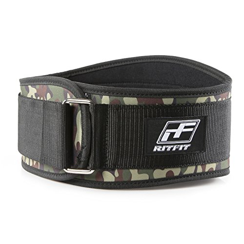 RitFit Weight Lifting Belt - Great for Squats, Crossfit, Lunges, Deadlift, Thrusters - Men and Women - 6 Inch Black (Camouflage, M(30-36''))