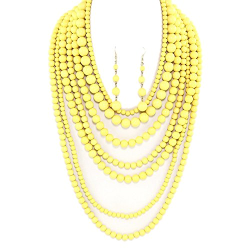 Beaded Yellow Jewelry Set - Statement Beaded Layered Strands Yellow Color POP Pearl Beads Long Gold Chain Necklace Earrings Set (Yellow)