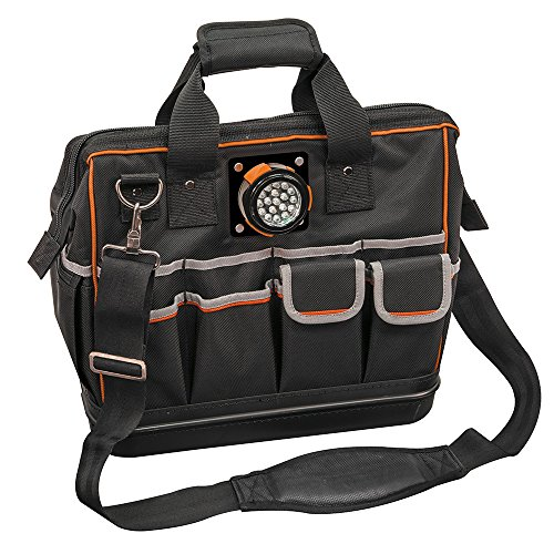 Tool Bag with Padded Shoulder Strap and Handles Has Lighted Tool Storage with 31 Pockets Klein Tools 55431 by Klein Tools