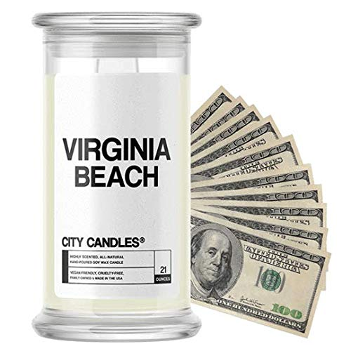 ( Virginia Beach City Cash Money Candles | $2-$2500 Inside | Guaranteed Rare $2 Bill | Choose from 30+ Scents | 21oz Jar | Freshly Picked Strawberries | Virginia Beach)