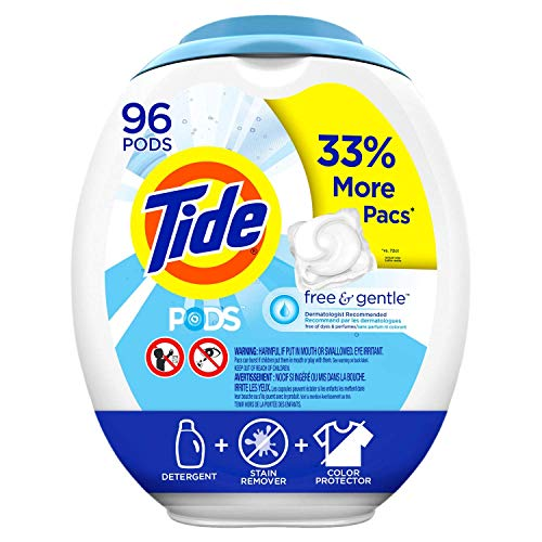 Tide PODS Free and Gentle Laundry Detergent, 96 Count, Unscented and Hypoallergenic for Sensitive Skin, Free and Clear of Dyes and Perfumes, HE Compatible (Packaging May Vary) ()