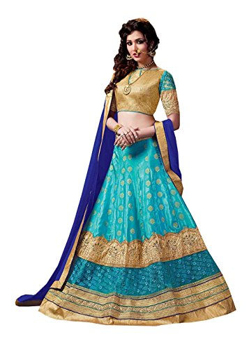 Da Facioun Womens Blue Striking Lehenga Choli With Embroidery Crystals Stones Work 84031