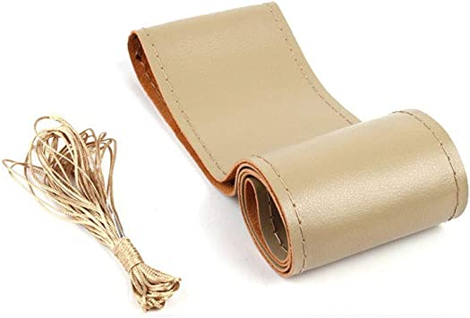 A Beige Leather 38cm DIY Car Steering Wheel Cover With Needles and Thread