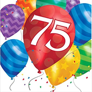 75th Birthday Balloon Blast Luncheon Napkins 16pk