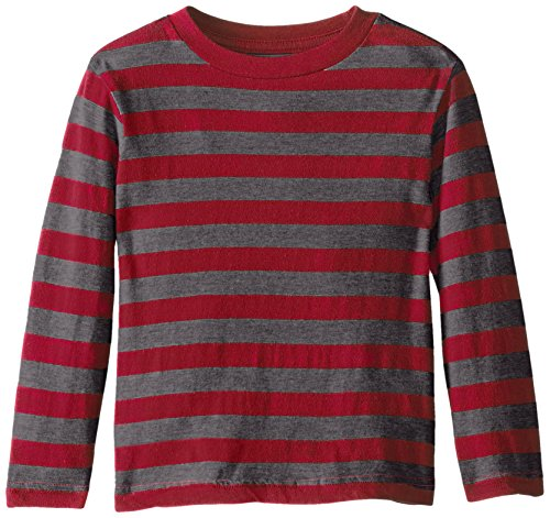 The Children's Place Little Boys' Long Sleeve Stripe Basic Tee, Classic Red, 3T