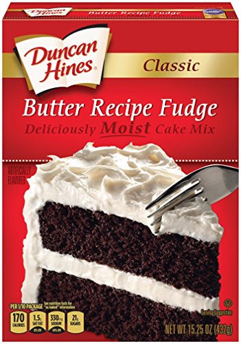 Duncan Hines Fudge Cake Mix, Classic Butter Recipe, 15.25 Ounce (Pack of 12)