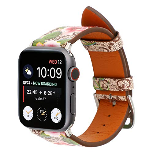 Luxury Leather Watch Band Strap Elegant Blooms Print Wristband Dressy Bracelet Compatible with 44mm 42mm Apple Watch Series 4/3/2/1 (Khaki/Pink)