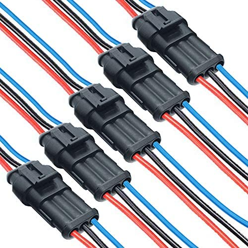 dstfuy 16AWG Waterproof Connector 3pin, Way automobile Plug Auto Electrical Wire Connectors for Truck, Boat,and Other Wire Connections.(5 Pack 3 cord connector)
