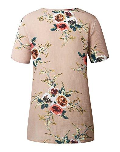 Manches Kaki Fashion Chemisiers t Imprim Shirts Rond Chemisier Blouses Haut T Casual Tops New Femmes Courtes Col Lache OvqtqxT1