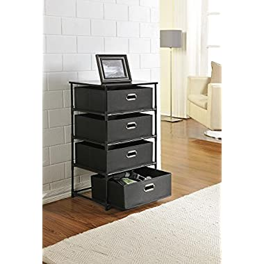 Altra Sidney 4 Drawer End Table, Black