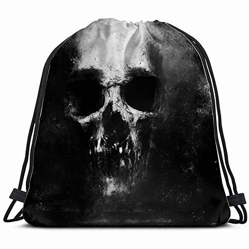 Scary Grunge Skull Isolated On Black Holidays Drawstring Backpack Bag For Kids Boys Girls Teens Birthday, Gift String Bag Gym Cinch Sack For School And Party -
