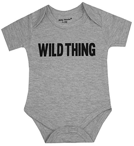 Silly Souls, Inc Wild Thing Unisex Toddler Baby Cotton Onesie, Grey 6-12 Months
