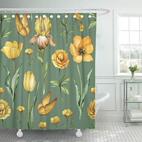 in Pattern Yellow Petals Watercolor Flowers Botanical Natural Vintage Artistic Shower Curtains Sets Hooks 72 x 78 Inches Waterproof Polyester Fabric ()