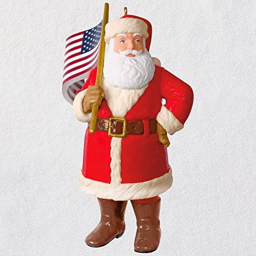Hallmark Keepsake Christmas Ornament 2018 Year Dated American Flag Santa Patriotic, Saluting Old Glory,]()