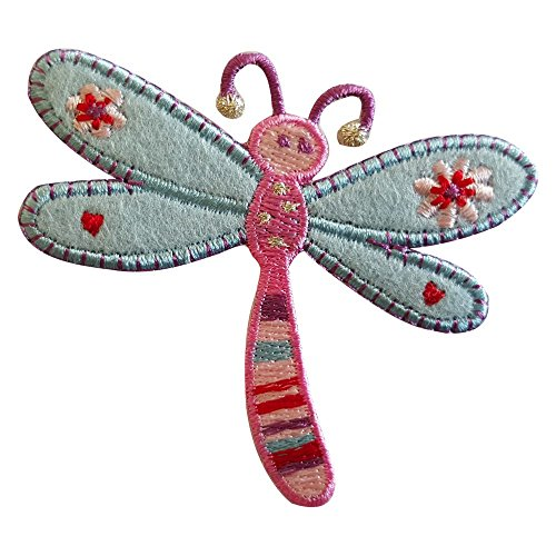 2 iron-on appliques set - Dragonfly 7X8Cm and Elephant 6X4Cm embroidered application set by TrickyBoo Design Zurich Switzerland