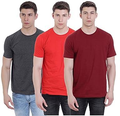 da44418cd FAB69 Solid Men's Round Neck Half Sleeve Cotton Plain Grenedine Red/Ruby  Wine Maroon/