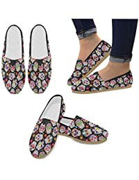 Fashion Sneakers Flats Pink Flamingo Women's Classic Slip-On Canvas Shoes Loafers