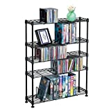 Pemberly Row 31'' 5-Tier Adjustable Multimedia Storage Rack in Black