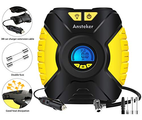 Newest Upgraded Ansteker Portable Air Compressor Pump, Auto Digital Tire Inflator, 12V 150 PSI Tire Pump for Car, Truck, Bicycle, and Other Inflatables