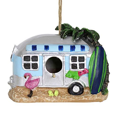 Exhart Retro RV Bus Bird House - Florida Flamingo Vintage Bus Mini House for Birds with Rope - Hanging Retro Camper Birdhouse Decor - Best as Tropical Outdoor Decor for Garden, Porch, and Yard, 8