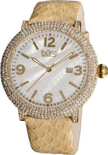 Burgi Women's BUR074TN Swiss Quartz Crystal Mother-of-Pearl Tan Leather Strap Watch (Tan Pearl Of Mother)