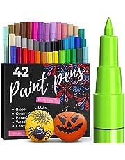ARTISTRO Set van 42 gekleurde acrylstiften voor het beschilderen van stenen, acrylverf, viltstiften 0,7 mm, extra fijne punt, acrylstiften voor stenen, hout, glas, keramiek en canvas, acryl markeerstiften