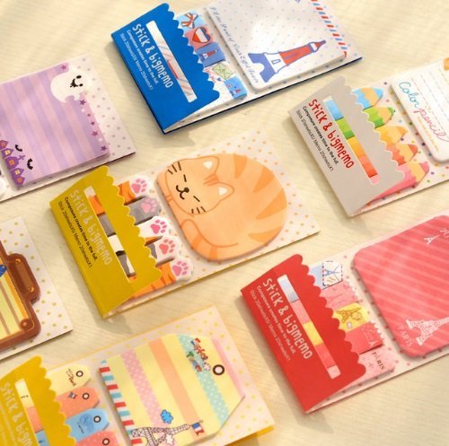Buy 1 Get 1 Free Cute Kawaii Panda Bird Cat Self-Adhesive Memo Pads Marker Message Sticky Notes Decorative Bookmark School Office (Halloween Candy Bowl Message)