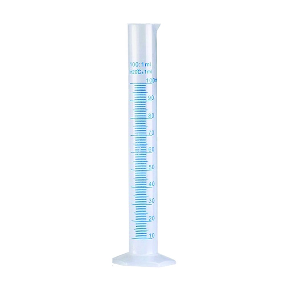 100ml Graduated Measuring Cylinder, PP Material, Autoclavable, Blue Printed Graduations, Karter Scientific 237L1 (Case of 12)