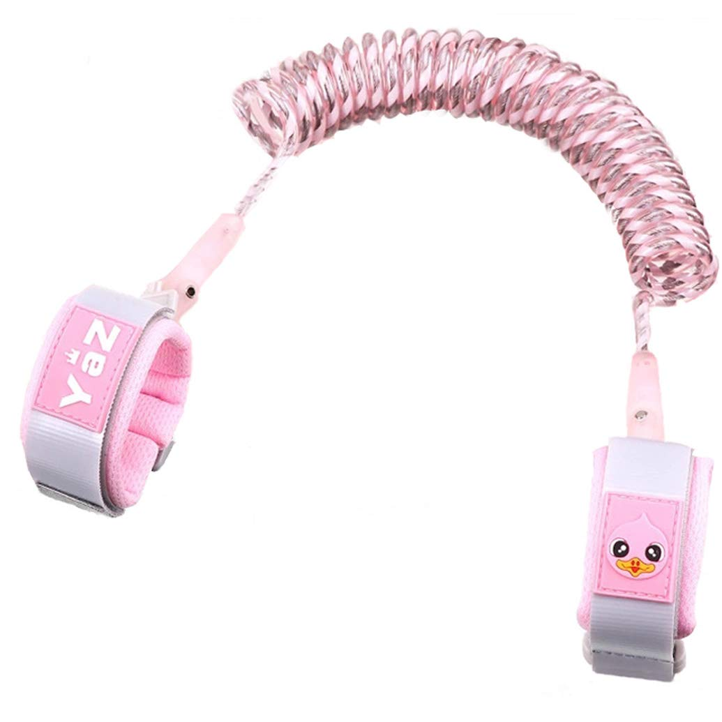 Reflective Anti Lost Wrist Link Toddler Safety Harness Leash for Kids Child(1.5m/4.9ft, Light Pink) FlowerGrower