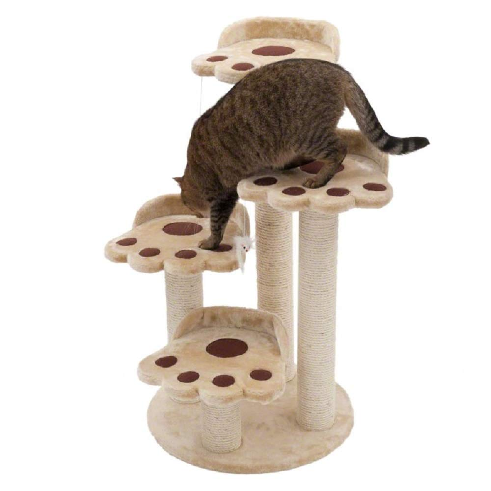 4 Levels Cat Tree Bear Paw Shape Cats Scratch Tower Soft Plush Comfortable Pets Zone Solid Sisal Post Toy