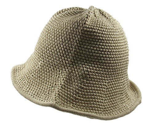 - RW Knitted Crochet Fordable Hat With Flexible Wire Big Brim (Beige)