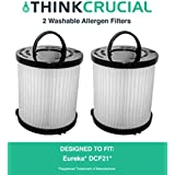 2 Highly Durable Washable & Reusable Style DCF-21 Filters for Eureka/Sanitaire AirSpeed Bagless Vacuums; Compare to Eureka Part Nos. 67821, 68931, EF91; Designed & Engineered by Think Crucial