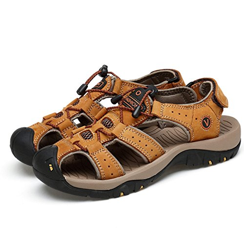 Sandals Outdoor Leather Hope Closed Mens Trekking Yellow Summer Sandals Toe Sports Shoes UxO8gx0q