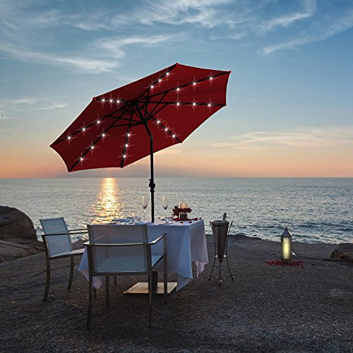 Kosycosy 10 ft LED Lighted Patio Umbrella LED Solar Power Table Market Umbrella, with Tilt Adjustment & Crank Lift System, for Outdoors, Patios (Red)