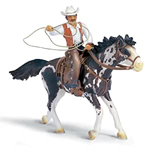 Amazon.com: Schleich Cowboy with Lasso on Horse: Toys & Games
