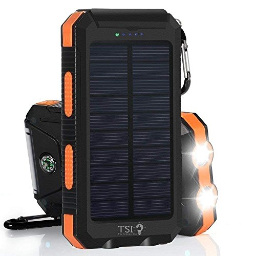 Solar Charger 30000mAh Power Bank Portable Backup Battery Waterproof Panel Charger for Cellphone,Tablet and Most Gadget w/Dual USB, LED Light, Compass, Hook for Indoor and Outdoor Charging (Orange)
