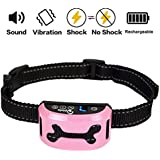 Bark Collar, 2018 Rechargeable Bark Collars for Medium Dogs Large Small Dog Stop Barking Control Device Waterproof No Bark Collar with Beep/Vibration/Shock & 7 Adjustable Sensitivity for 6-150lbs-Pink