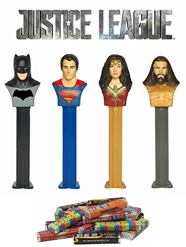 (PEZ Justice League Dispenser and Candy Refill Set: Batman, Superman, Wonder Woman, and Aquaman (4 Dispensers and 24 Rolls of PEZ Candy)