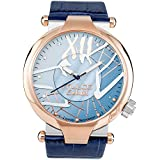 Mulco Enchanted Spider Quartz Slim Analog Swiss Movement Unisex Watch | Special Metal Insert Design Sundial Display with Rose Gold Accents | Leather Watch Band | Water Resistant (Blue)