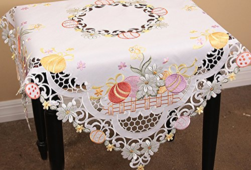 Xia Home Fashions Country Egg  Embroidered Cutwork  34-InchBy 34-Inch Easter Table Topper by Xia Home Fashions