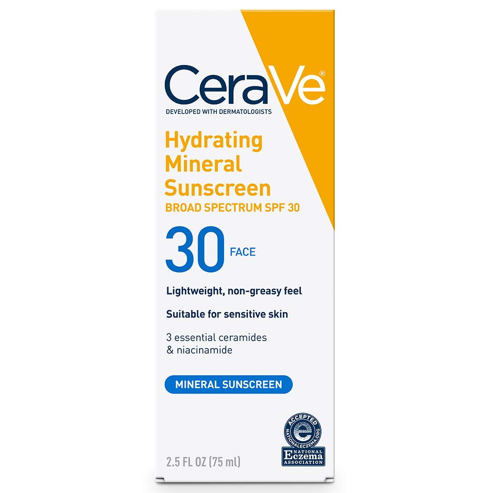 CeraVe 100% Mineral Sunscreen SPF 30   Face Sunscreen with Zinc Oxide & Titanium Dioxide for Sensitive Skin   2.5 oz, 1 Pack: Beauty