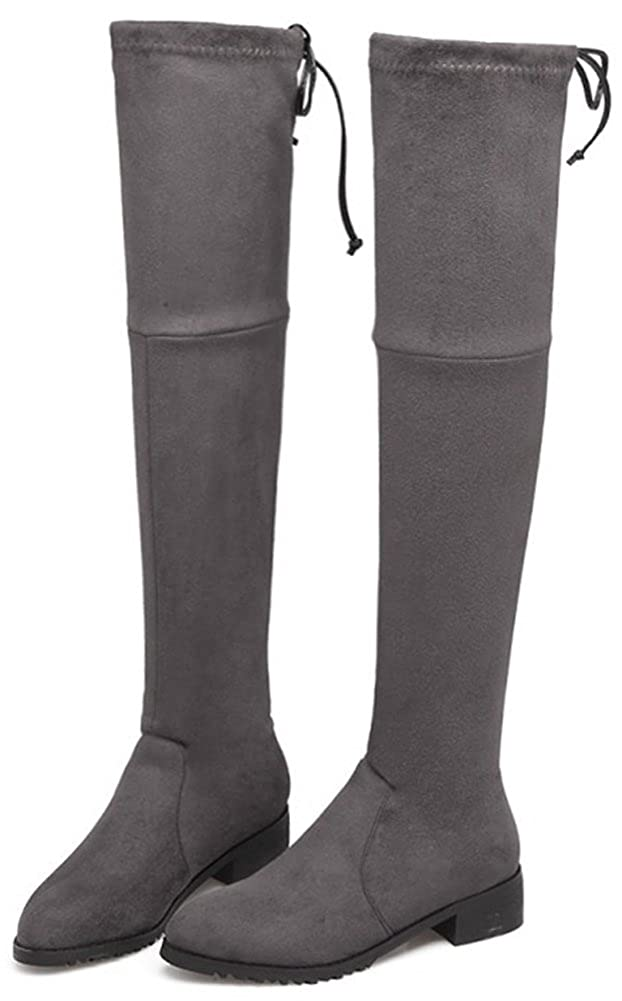 Mofri Womens Casual Block Low Heel Round Toe Faux Suede Above The Knee Riding Boots with Drawstring