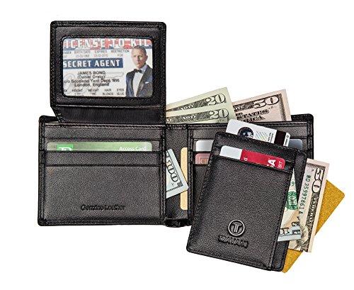 Amazon Lightning Deal 100% claimed: TRAVAMI RFID Blocking Genuine Leather Wallets for Men | Gift Set | Black