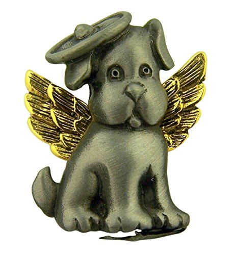 Protect My Pet Pewter Two-Tone Lapel Pin, 1 Inch (Dog with Wings)